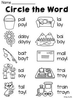 ai ay sound spelling worksheets