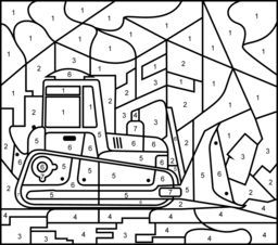 Bulldozer Printable Color By Number Page Hard Coloring Pages Printable Coloring Sheets Printable Games