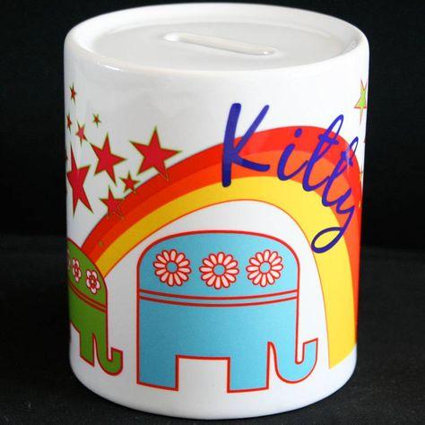 personalised money box - elephants or rockets by meenymineymo | notonthehighstreet.com £14.50