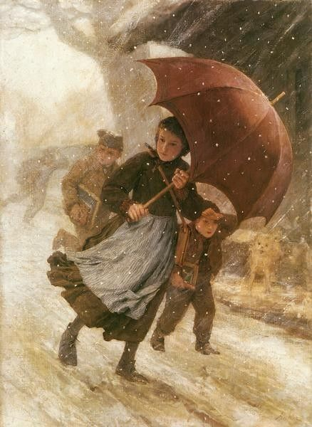 """Desember"", 1888. Albert Anker (1831-1910), Swiss Genre Painter."