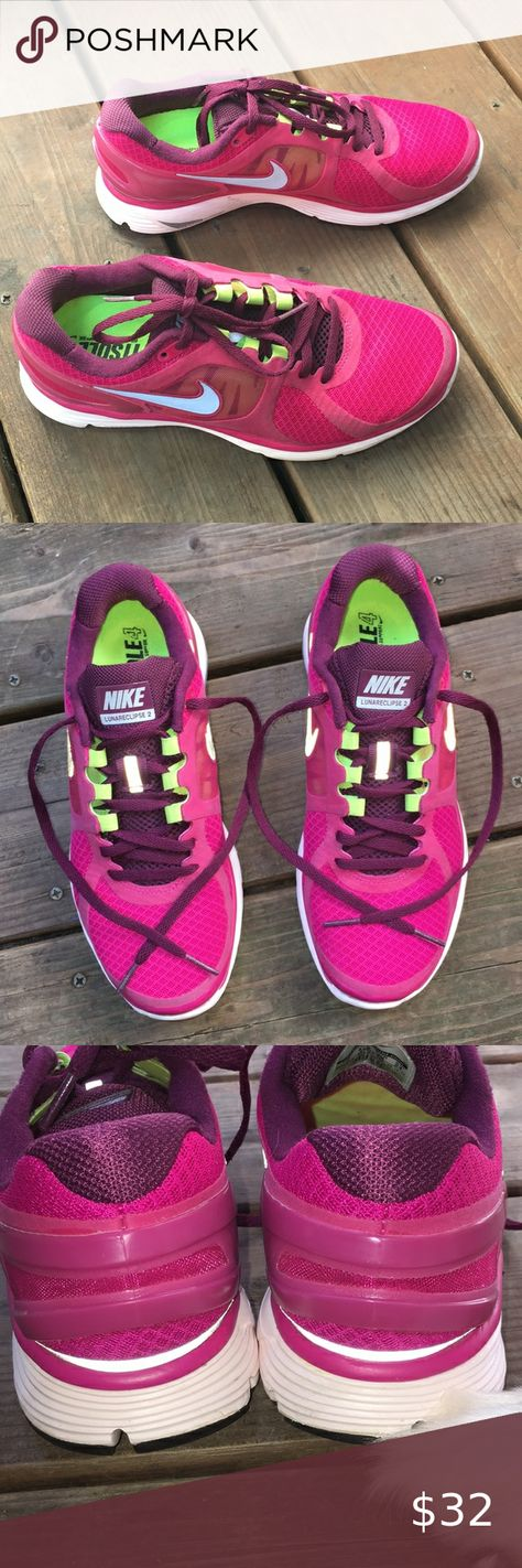 Nike Lunareclipse 2 Colors: magenta, purple, green Used only once, great conditions. Almost new Dynamic support outside sole and Fitsole 4 inside sole. Nothing is ripped. Shoelaces in great conditions. No scratches. No stains.   -Feel free to ask questions😊 Nike Shoes Athletic Shoes