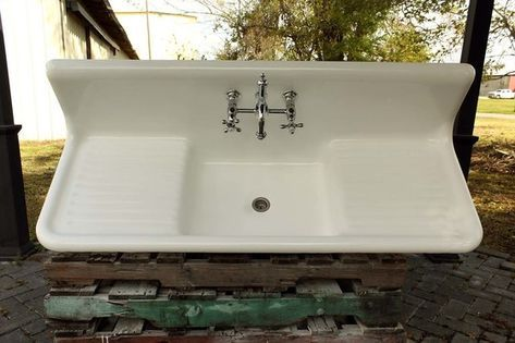 Large 1922 Refinished Farm Sink Double Drainboard High Back Cast Iron Porcelain Kitchen Sink Package Farm Sink Sink Sink Faucets