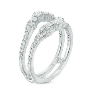 3 4 Ct T W Diamond Solitaire Enhancer In 14k White Gold Zales Outlet Wedding Ring Zales Diamond Solitaire Enhancer Diamond Wedding Sets