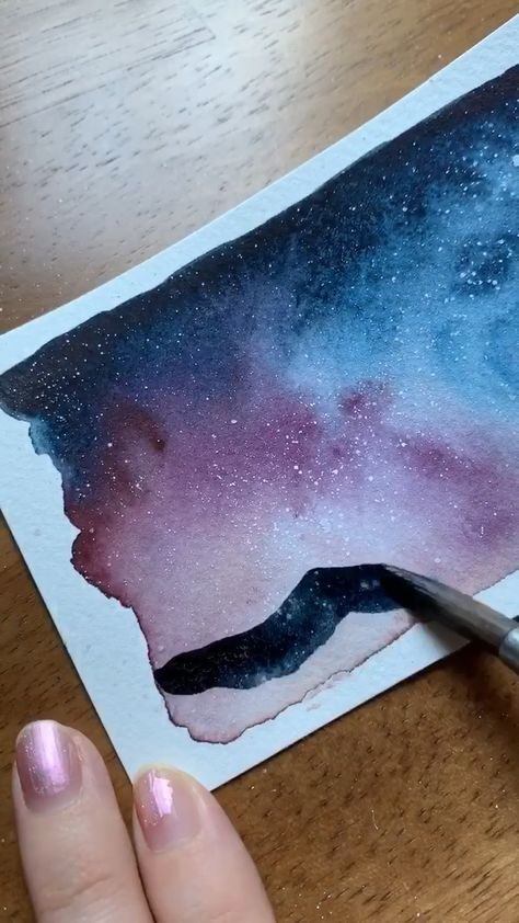 Learn to paint a watercolor Milky Way night sky like me in my new Skillshare class!