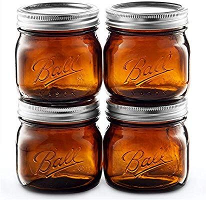 Amazon Com Ball Amber Glass Wide Mouth Mason Jars 16 Oz Pint 4 Pack With Airtight Lids And Bands Am Wide Mouth Mason Jars Preserving Jar Glass Mason Jars