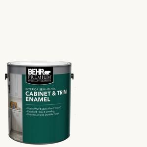 Behr Premium 1 Gal Ultra Pure White Base Semi Gloss Interior Cabinet And Trim Paint 712001 The Home Depot Behr Premium Painting Trim Cabinet Trim
