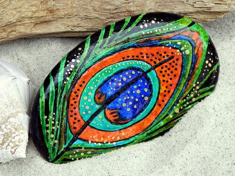 Enchanted Peacock / Painted Rock / Sandi Pike by LoveFromCapeCod, $65.00
