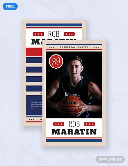 Free Basketball Trading Card Template Word Doc Psd Apple Mac Pages Illustrator Publisher Baseball Card Template Trading Card Template Player Card