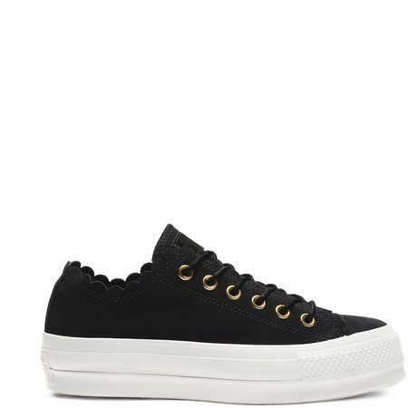 Womens Converse All Star Low Platform Trainers Black Gold Egret Frill Trainers S