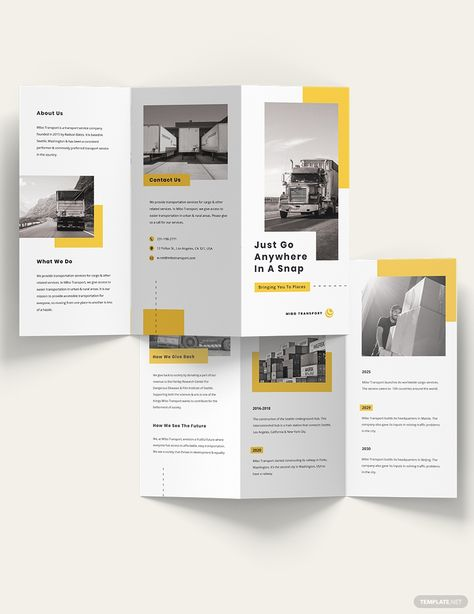 Automotive and Transportation Tri-Fold Brochure Template [Free Publisher] - Illustrator, InDesign, Word, Apple Pages, PSD | Template.net
