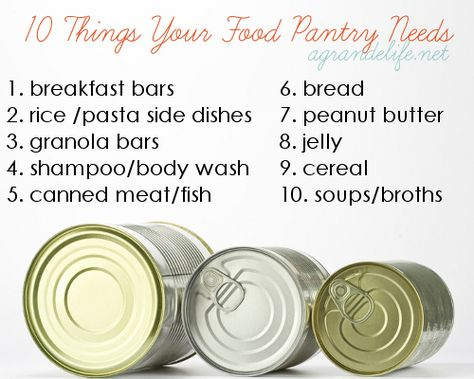 10 Thinks Your Food Pantry Needs - Ideas for donating your coupon stockpile stuff.