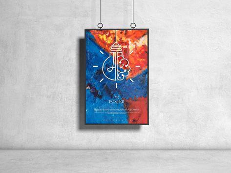 Hanging Poster Design PSD Mockup Download   DesignHooks