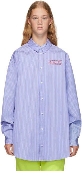 Martine Rose Blue Bonded Stripe Oversize Shirt #Sponsored