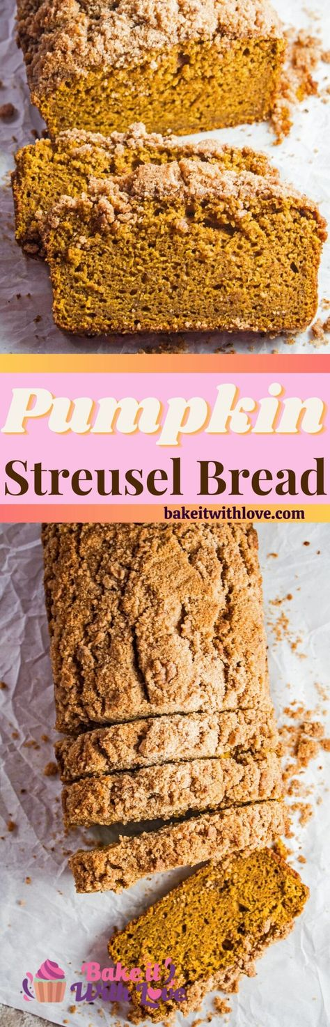 This super moist Pumpkin Streusel Bread is the perfect combination of fall flavors with the sweetness of pumpkin puree & the warm pumpkin pie spices! It's an extremely easy pumpkin bread to bake up with just the right amount of brown sugar streusel topping to completely satisfy any sweet tooth! bakeitwithlove.com | #bakeitwithlove #pumpkinstreuselbread #pumpkinpiespice #brownsugarstreusel #easy #recipe #best #pumpkinbread #streuseltopping #supermoist #crumbtopping #cinnamon #pumpkincrumblebread