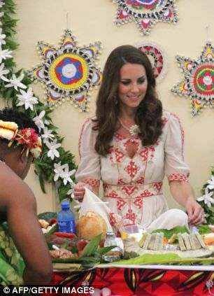 William and Kate were presented with food at the meal in Funafuti on Tuvalu on September 18, 2012