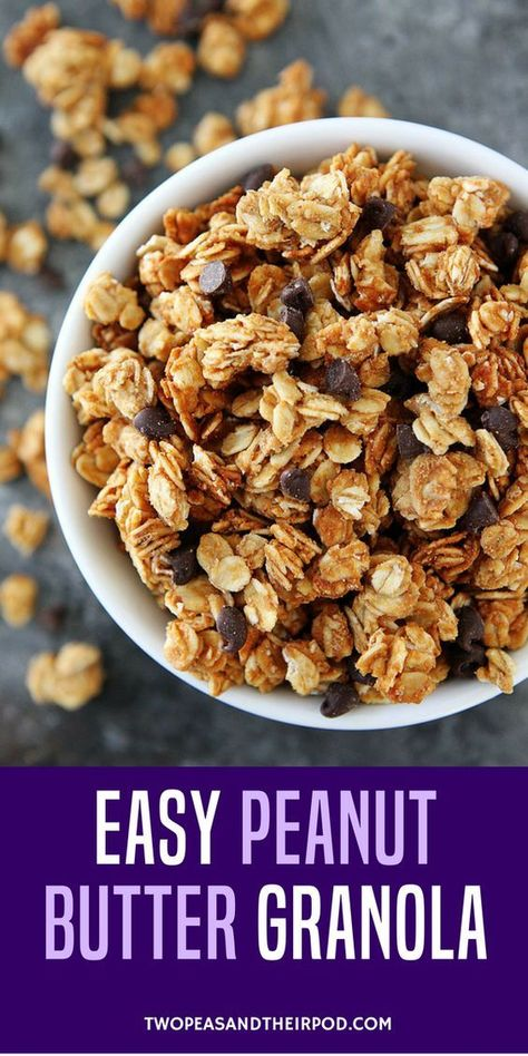 You only need 4 ingredients to make this amazing Peanut Butter Granola! It is great for breakfast or snacking! #peanutbutter #granola #glutenfree #breakfast