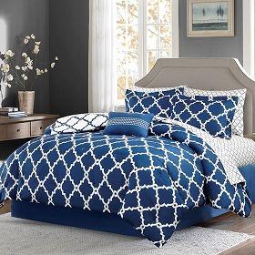 Merritt Reversible Comforter Set And Cotton Sheet Navy