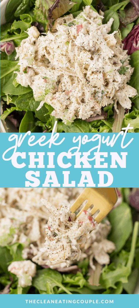 Greek Yogurt Chicken Salad - The Clean Eating Couple - - Greek Yogurt Chicken Salad is the perfect healthy lunch or dinner. High in protein, low fat and low carb - it's great for weight loss, easy and delicious! Chicken Salad Without Mayo, Low Carb Chicken Salad, Greek Yogurt Chicken Salad, Greek Yogurt Recipes, Salad Chicken, Greek Salad, Healthy Salad Recipes, Healthy Chicken Recipes, Healthy Chicken Salad Recipe No Mayo