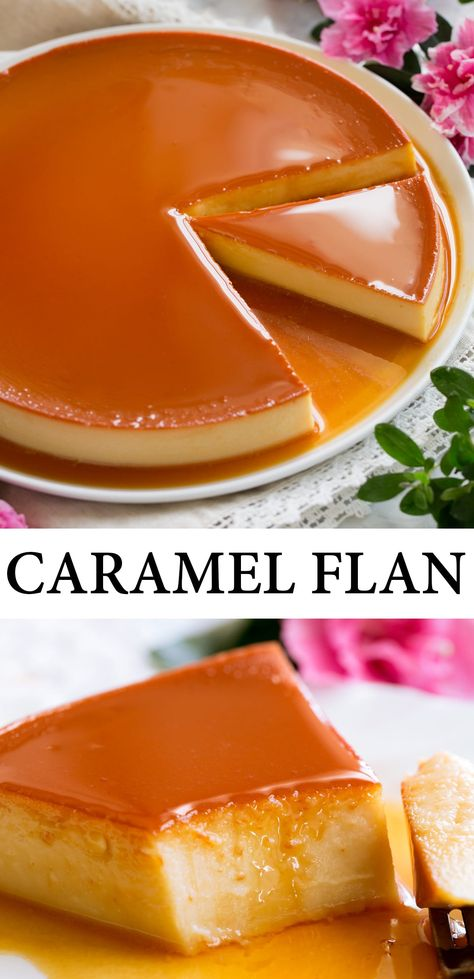 The Best Flan recipe! You get a rich and creamy custard style dessert covered with a deeply flavorful caramel sauce. And this version also includes luscious cream cheese to really take it over the top! #flan #mexican #dessert #recipe Easy Desserts, Delicious Desserts, Yummy Food, Filipino Desserts, Best Flan Recipe, Cuban Flan Recipe, Mexican Food Recipes, Sweet Recipes, Caramel Flan