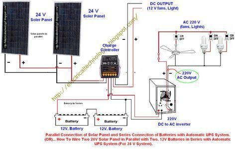 How To Wire Two 24v Solar Panels In Parallel With Two 12v Batteries In Series With Automatic Ups System For Solar Panels Solar Panel System Solar Technology