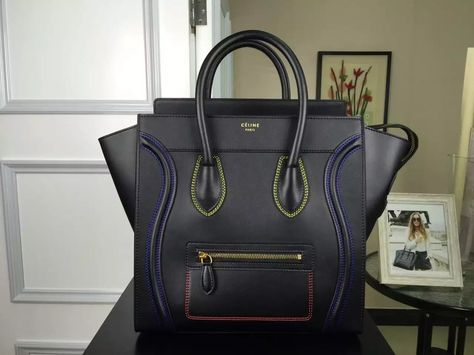 9e538dccaea1 New Arrival Summer 2016 Celine Bags Outlet-Celine Micro Luggage Handbag  with Multicolour Double Stitching in Black Calfskin