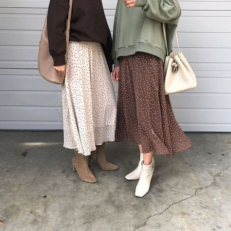 """OAK + FORT on Instagram: """"Patterned with a classic polka dot print, this A-line midi skirt is versatile enough to wear with any ensemble. Sweatshirt 4337 Skirt 4343…"""""""
