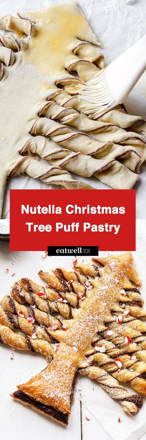 Nutella Christmas Tree Puff Pastry - Crunchy and super indulgent, a show-stopping treat that everyone will love! Ideal for Christmas parties. - #recipe by #eatwell101