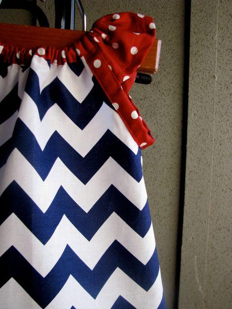 Dress - 4th of July chevron zigzag navy red white blue