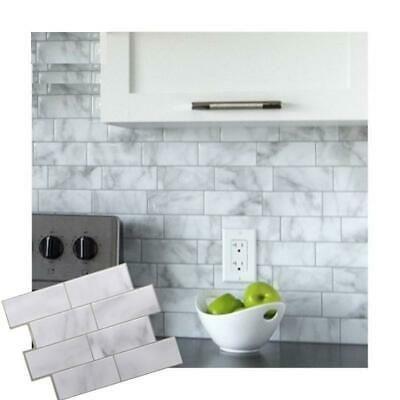 3d Mosaic Wall Tile Self Adhesive White Grey Marble Peel Sticker Bathroom Decals Fashion Home Garden In 2020 Mosaic Wall Tiles Wall Tiles Self Adhesive Backsplash