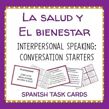 La Salud Health Spanish Speaking Task Cards Conversation