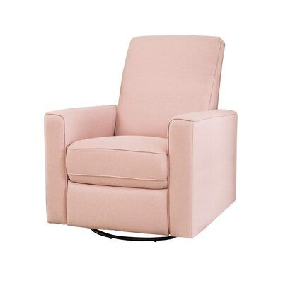 Red Barrel Studio Coello Reclining Manual Glider Upholstery Color Petal Pink Linen Swivel Glider Recliner Glider Recliner Chair Recliner Chair