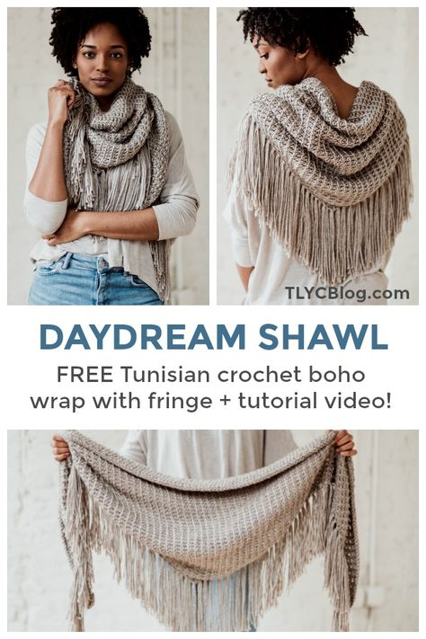 Make the Daydream Shawl, a beginner friendly Tunisian crochet boho triangle scar. Make the Daydream Shawl, a beginner friendly Tunisian crochet boho triangle scarf. Tunisian Crochet Patterns, Beginner Crochet Scarf, Knitting Beginners, Crochet Triangle Scarf, Crochet Wrap Pattern, Crochet Shawls And Wraps, Crochet Accessories, Crochet Clothes, Crochet Scarves