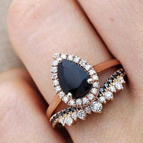 25 Stunning Black Diamond Engagement Rings Who What Wear In 2020 Black Wedding Rings Black Diamond Ring Engagement Diamond Wedding Rings