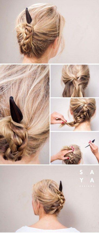 How To Use A Hair Stick Hair Stick Hair Fork And Hair Pin Tutorials Hair Tutorials For Medium Hair Hair Styles Medium Hair Styles