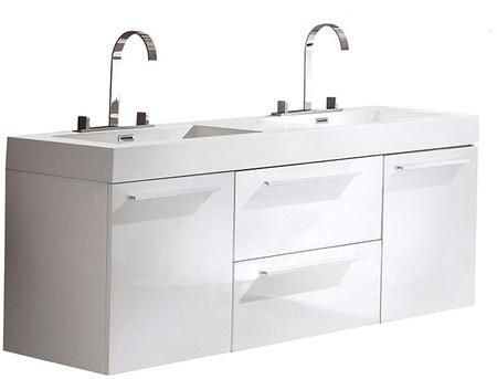 Opulento Fcb8013wh I 54 Double Sink Vanity With 2 Soft Closing