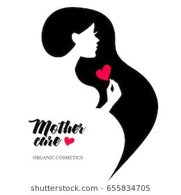 Beautiful Pregnant Profile Mother Silhouette Woman Vector Illustration Happy Mothers Day Card Logo Silhouette Photobook Design Woman Silhouette