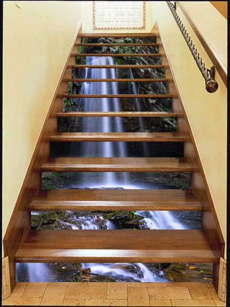 3d Nice Waterfall Stair Risers Decoration Photo Mural Vinyl Decal