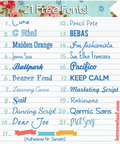 21 adorable fonts, all free! (via Her New Leaf)