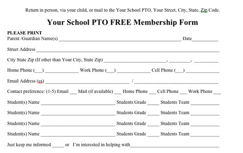 Free PTO membership form to send out to parents from the PTO Today - contest form template