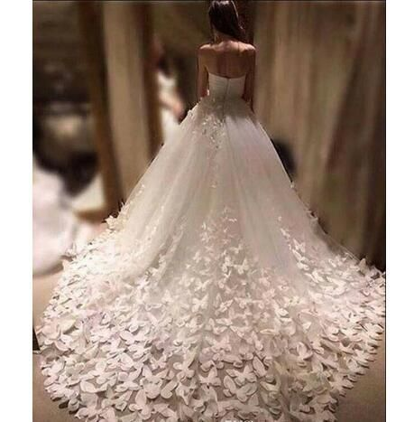 New Fashion Wedding Dresses Cathedral Train 3d Floral Appliques Butterfly Bridal Gowns Tulle Sweetheart Custom Made Wedding Dresses From Babybridal Butterfly Wedding Dress Wedding Dresses Bridal Gown Tulle
