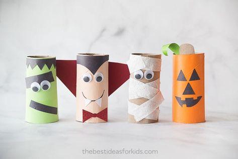 Lavoretti autunno - Personaggi Halloween creati con rotoli di carta igienica 8a04c08770dd
