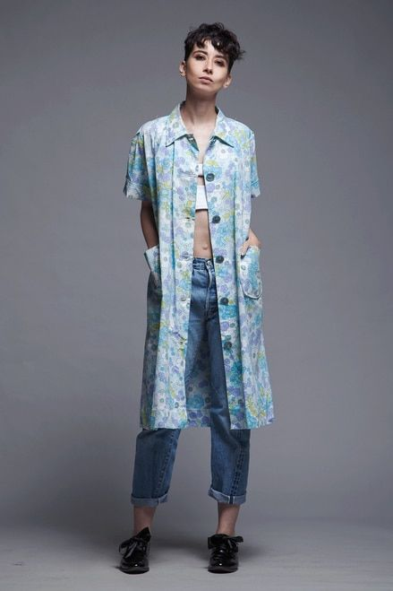 Swing Coat Dress Duster Blue Floral Cotton Oversize Pockets Vintage 80s Oversize M L Xl Vintage Clothing Online Vintage Outfits Swing Coats
