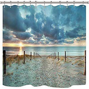 Shoreline Ocean Sea Maps Blue Aqua Black Quality Fabric Shower