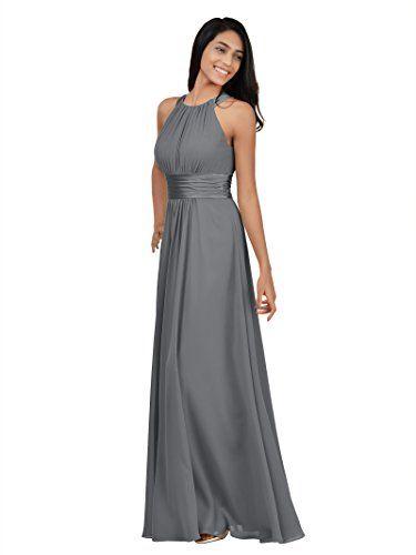 e9987e03c Alicepub Sleeveless Bridesmaid Dresses Long for Women Formal Elegant Halter  Evening Dresses for Weddings Empire Maxi Party Prom Gown Steel Grey US16 ...