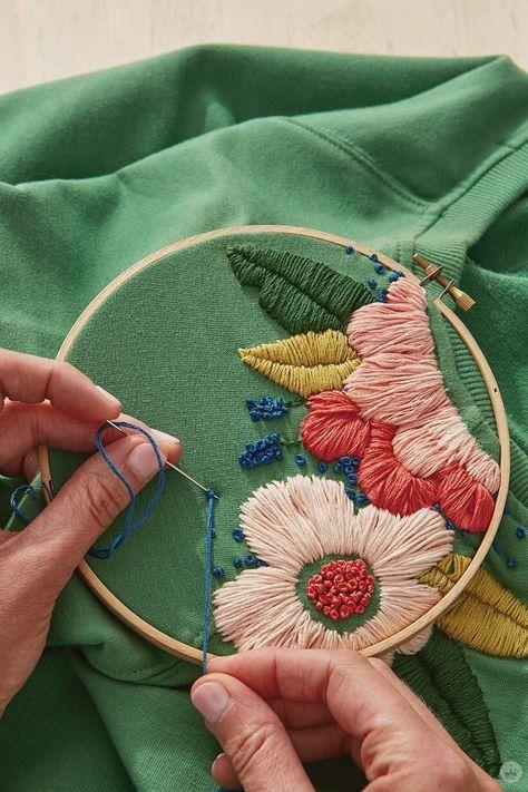 FÁCIL: Como bordar flor á mão com risco SIMPLES