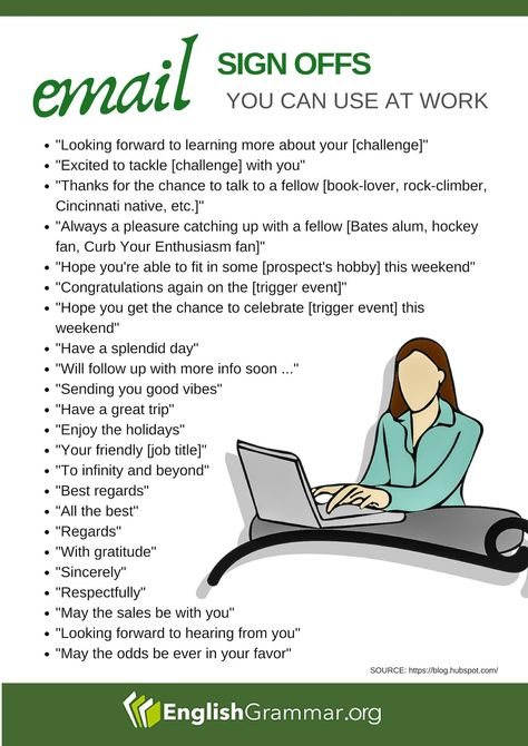 English Grammar on Twitter: #Email sign offs you can use at work  #writing #contentmarketing…