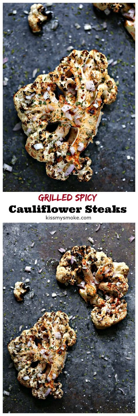 Grilled Spicy Cauliflower Steaks from kissmysmoke.com. Grilled Spicy Cauliflower Steaks are super quick and easy to make. They pack a serious flavor punch with minimal prep and fuss. Perfect for veggie loving grilling fanatics! #sponsored #grill #bbq #cauliflower @TruGreen