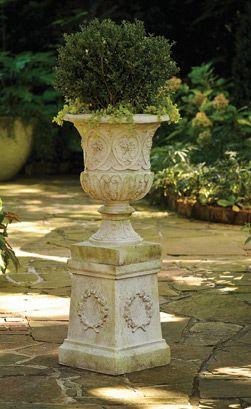 Antique Reproduction Fiberglass Urns, Planters And Pedestals .
