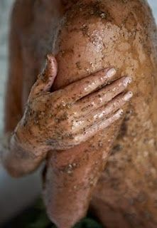 """3/4 coffee grounds, 1/4 brown sugar and a dash of olive oil to bring it into paste form... YOU MUST TRY! Exfoliates, fights cellulite, gets rid of the red bumps on the backs of arms, moisturizes, the works!"""""""