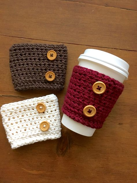 Wooden Button Coffee Cup Cozy, Coffee Sleeve, Crochet Cozy, Coffee Lover, Coffee Gift - crochet mug cozy Crochet Coffee Cozy, Coffee Cup Cozy, Crochet Cozy, Tea Cozy, Hand Crochet, Coffee Cups, Free Crochet, Coffee Cozy Pattern, Knitting Projects
